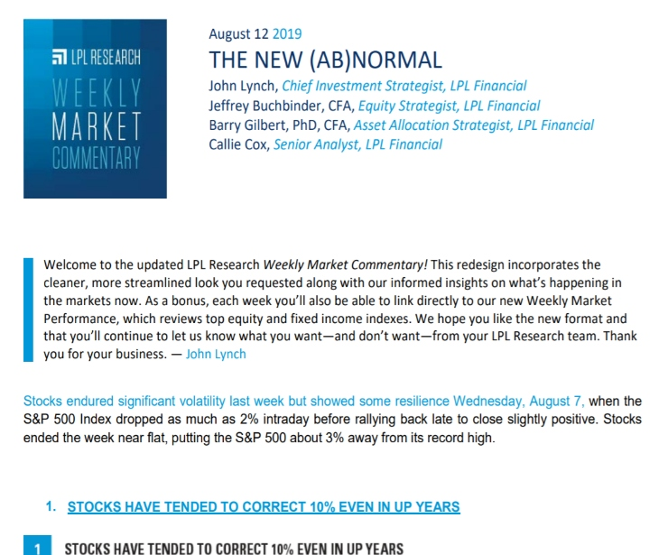 The New (Ab)normal | Weekly Market Commentary | August 12, 2019
