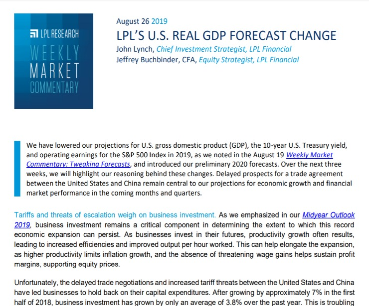 LPL's U.S. Real GDP Forecast Change | Weekly Market Commentary | August 26, 2019
