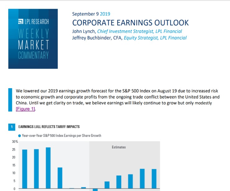 Corporate Earnings Outlook | Weekly Market Commentary | September 9, 2019